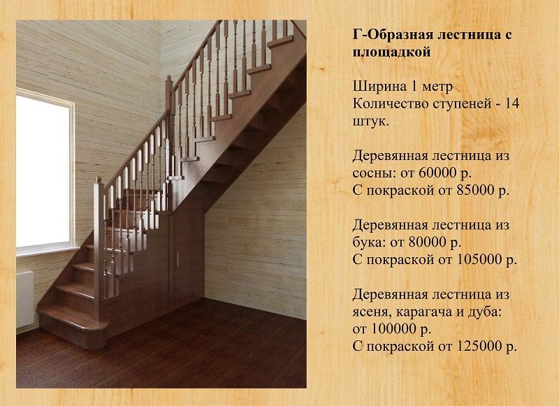 Сделать г образную лестницу